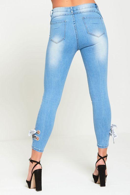 Love Ribbon Tie Light Denim Skinny Jeans