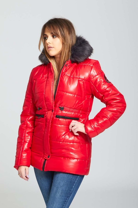 Red Faux Fur Hooded Puffer Coat