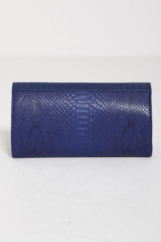 Navy Croc And Snake Print Clutch Bag