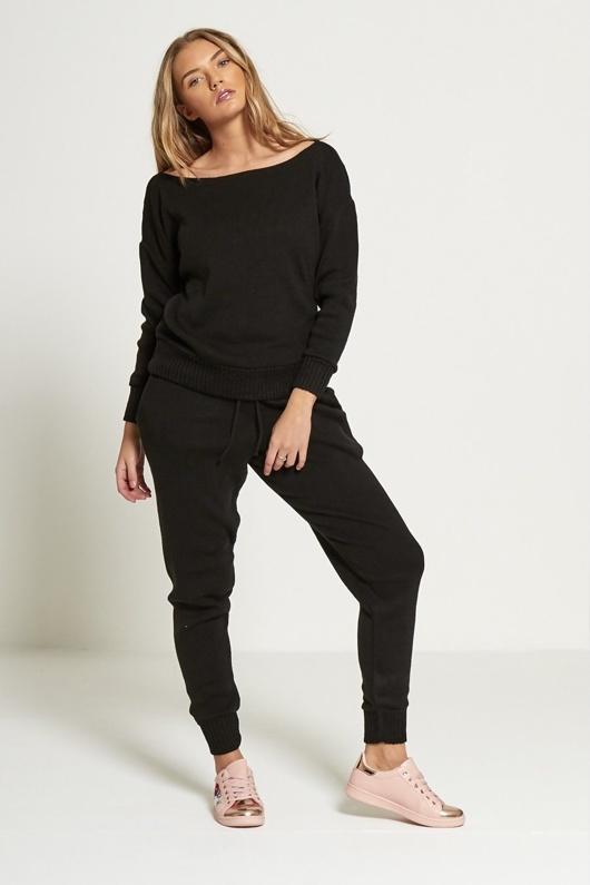 Black Loose Fit Lounge Wear Jogger Set