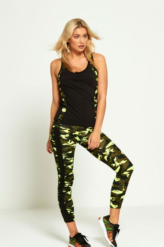 Lime Camouflage Panel Active Wear Vest Top