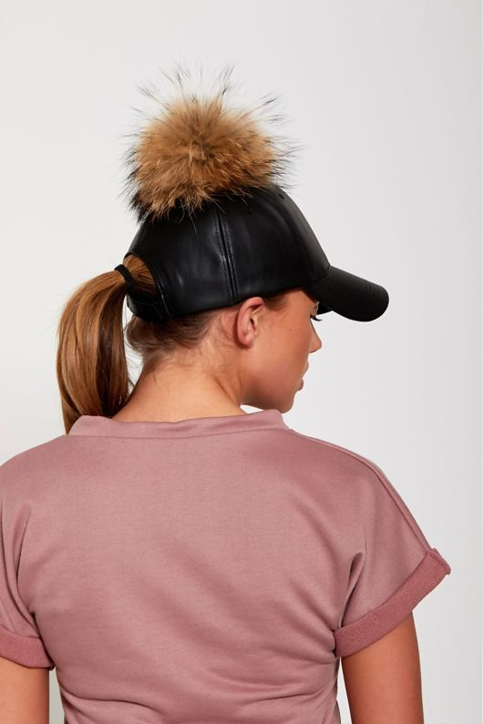 Black Real Fur Detachable Pom-Pom Baseball Cap