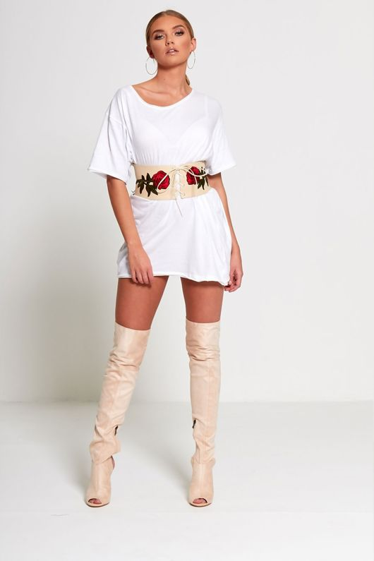 Beige Floral Embroidered Corset Belt