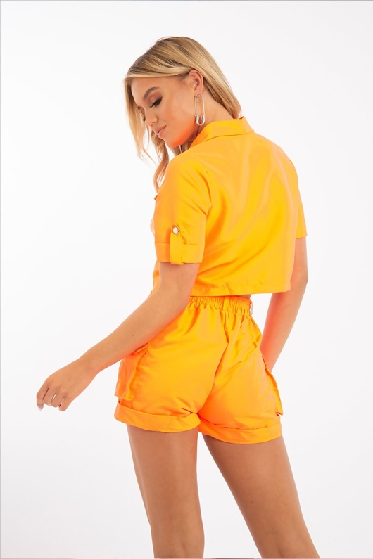 Neon Orange Button Front Utility Pocket Shirt And Shorts Set
