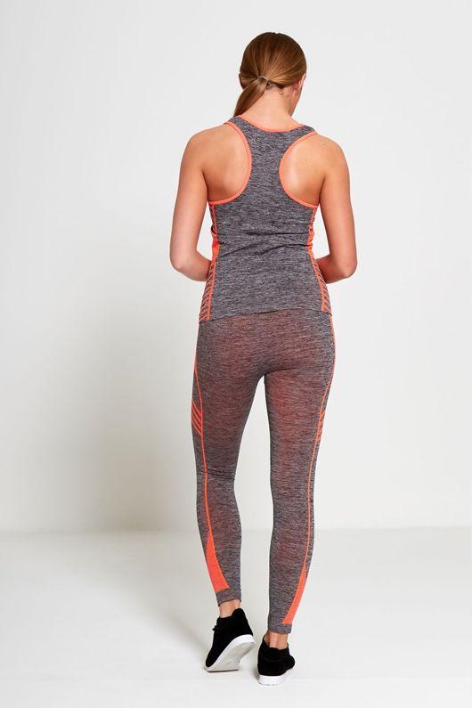 Orange Sports Stripe Activewear Top