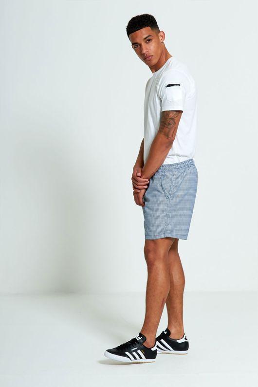 Navy and White checks Printed Swim Shorts