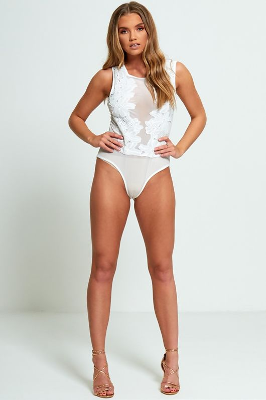 White Applique Floral Mesh Bodysuit