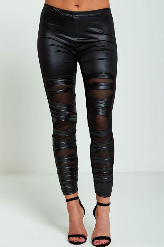 Ripped Detail Mesh Underlay Leather Look Leggings