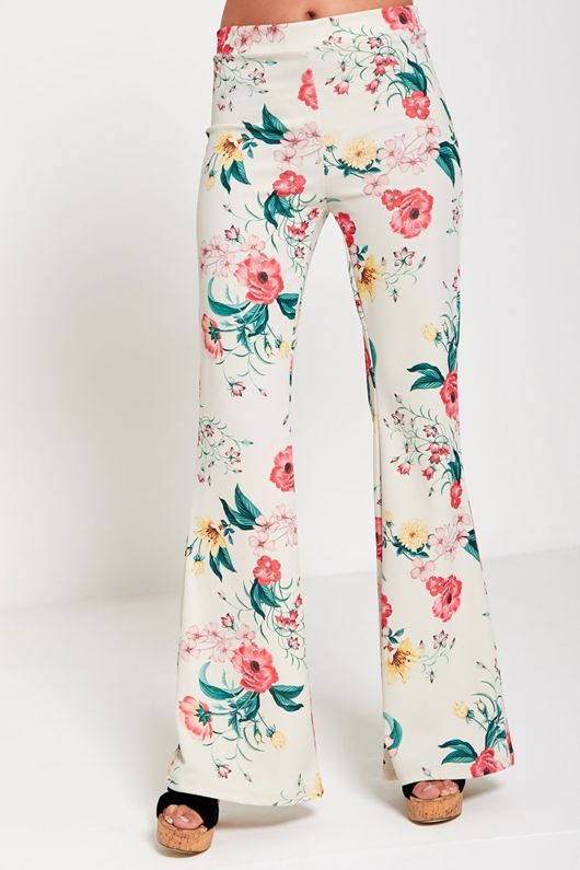 Floral Print High Waist Flared Trouser