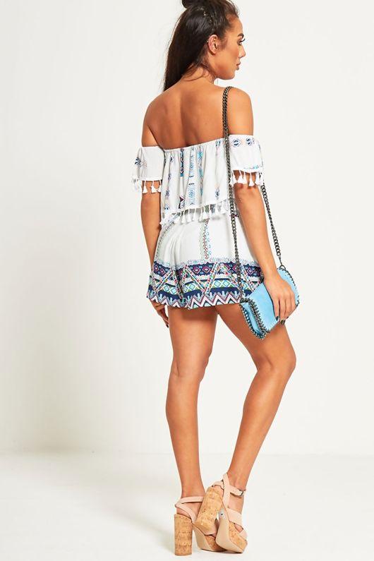 Bardot Style Aztec Print Shorts