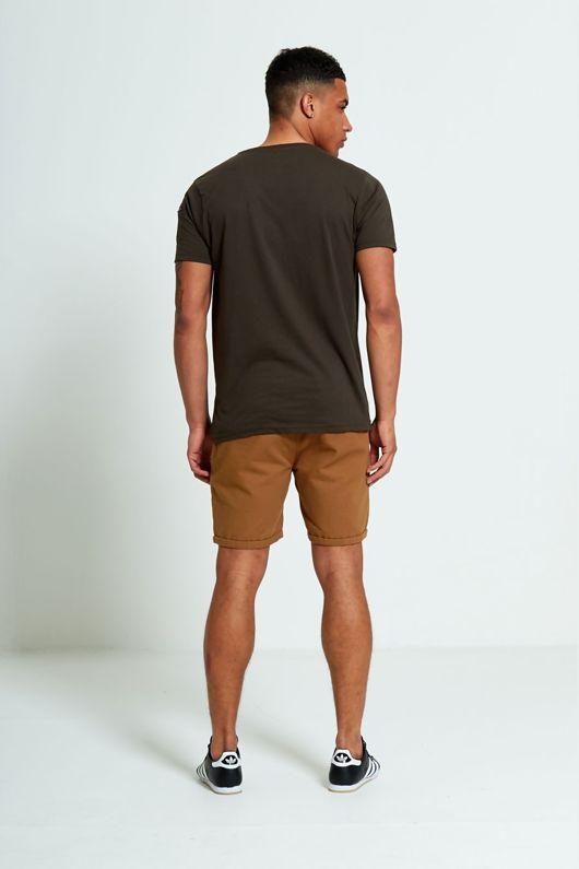 Brave Soul Zip Detail Khaki T-shirt