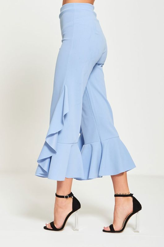 Asymmetry Drape Frill Trouser-Copy