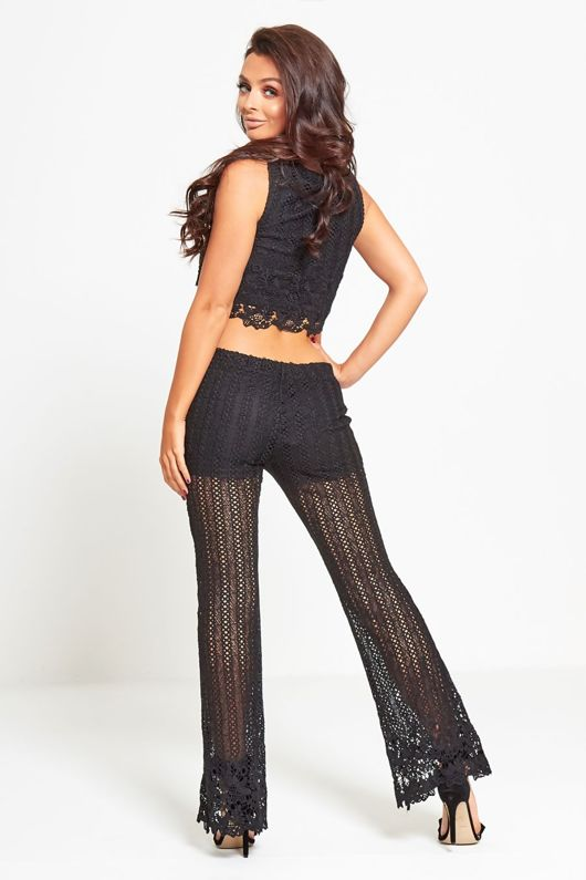 Black Floral Lace Flared Trouser