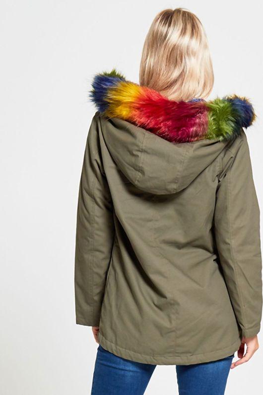 Multicoloured Fur Rimmed Hood Khaki Parka Coat