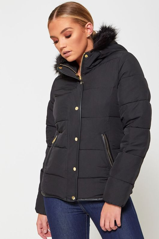 Black Fur Lined Hood Puffer Jacket