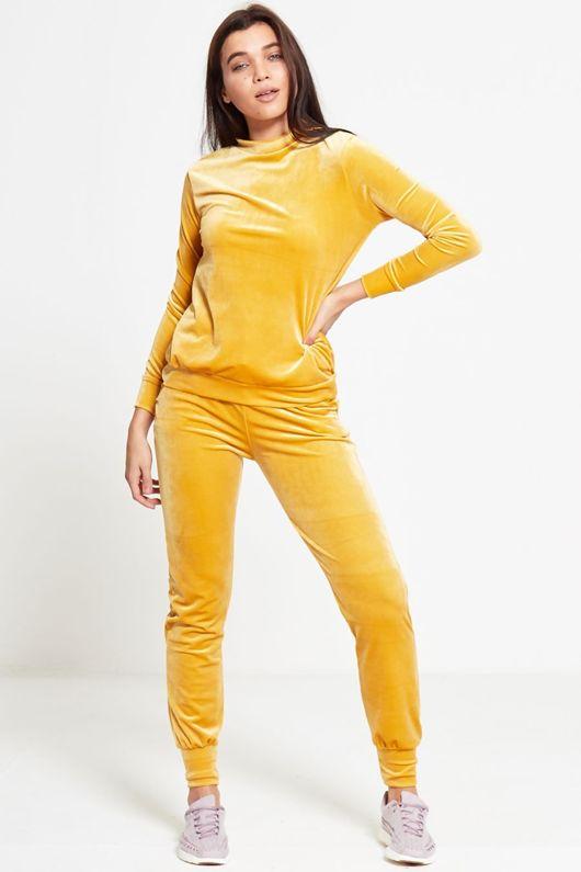 Yellow Velour High Neck Loungewear Top