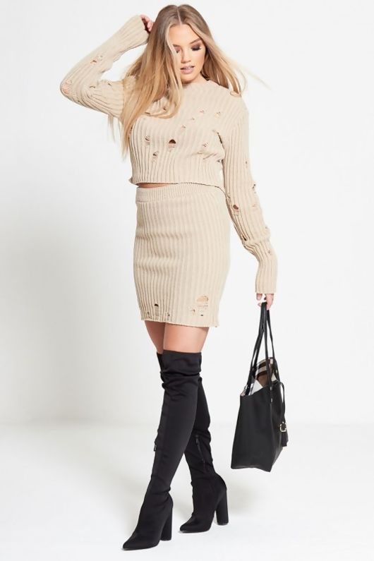 Stone Distressed Knitted Jumper And Skirt Co-ord Set