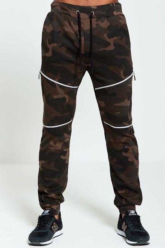 Mens Zip Detail Khaki Camouflage Jogging Bottoms