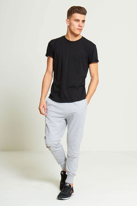 Grey Mens Ripped Knee Jogging Bottoms