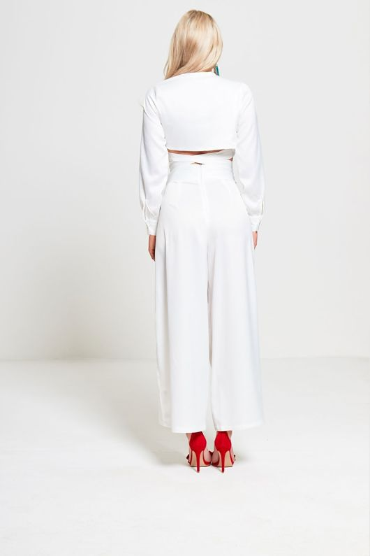 White Long Sleeves Cropped Top