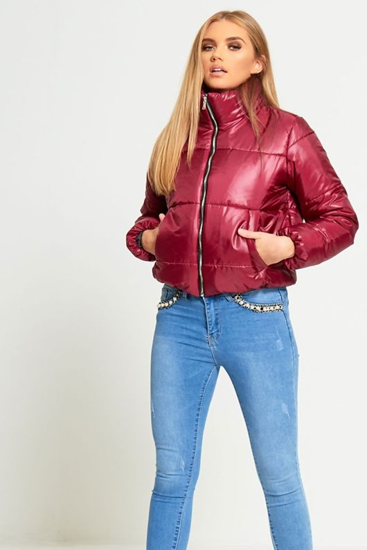 WINE HIGH NECK CROPPED PUFFER JACKET