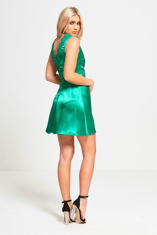 Emerald Green Crochet Detail Skater Dress