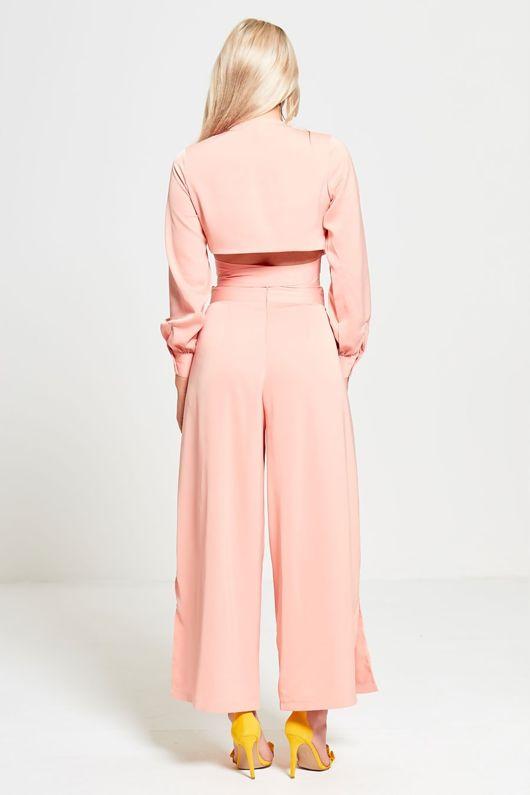 Pink Split Leg Cropped Top