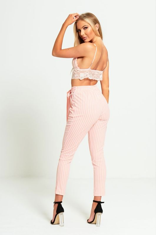 Pink Striped High Waisted Tapered Trousers