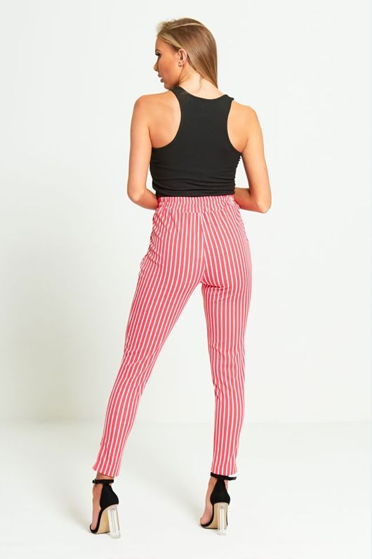 Bright Pink Striped High Waisted Tapered Trousers