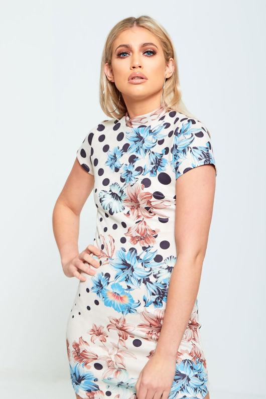 Beige Floral Faux Suede Bodycon Mini Dress