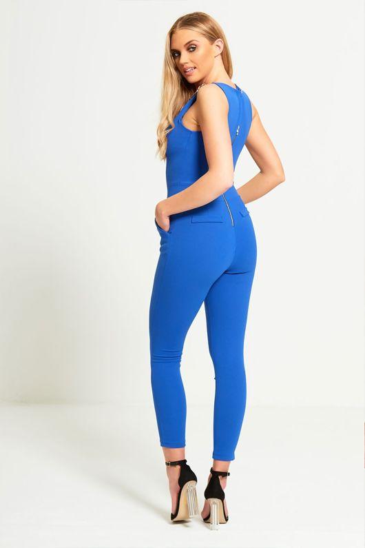Blue Chain Pocket Jumpsuit