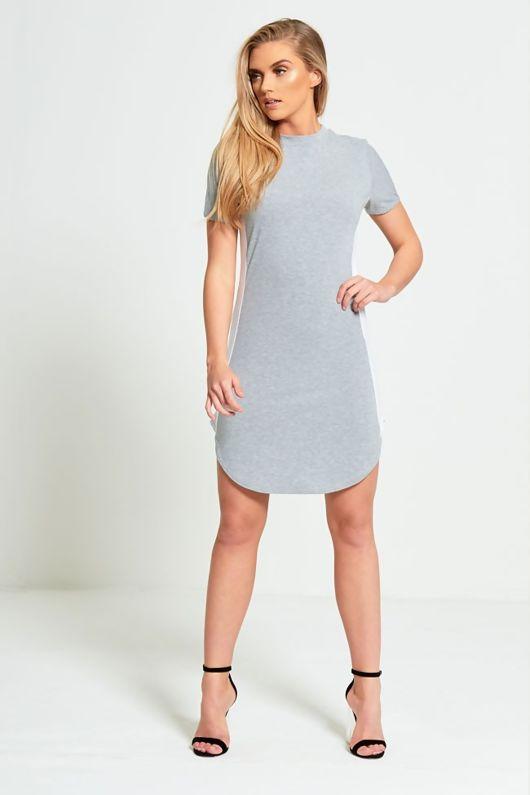 Grey Bodycon White Panel Mini Dress