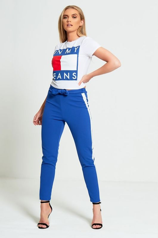 Blue Tapered White Panel Trousers