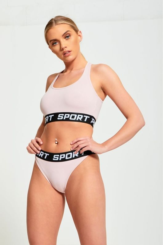 Pink Elasicated Waistband Sports Bra And Knickers Set