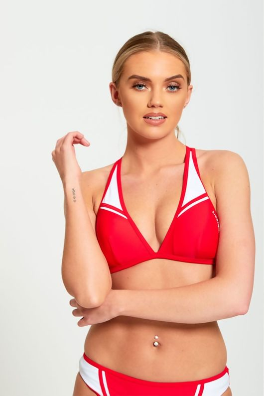 Red Bikini With Contrasting White Panels