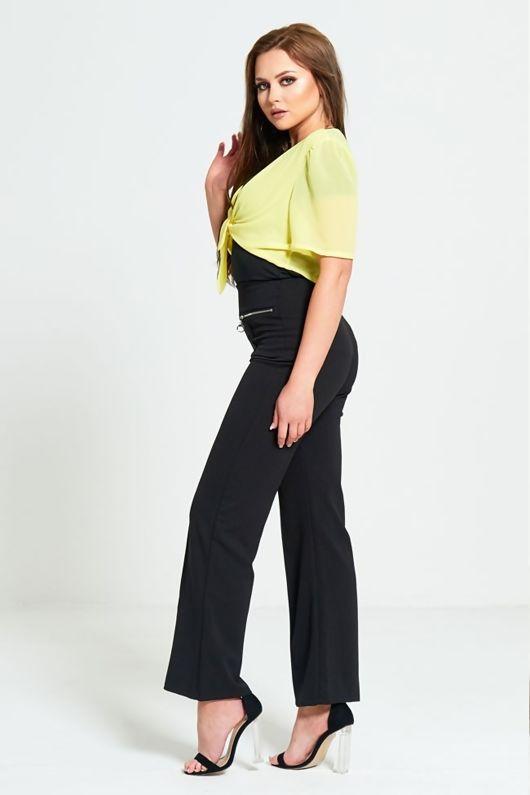 Black Zip Detailing Wide Leg Trousers