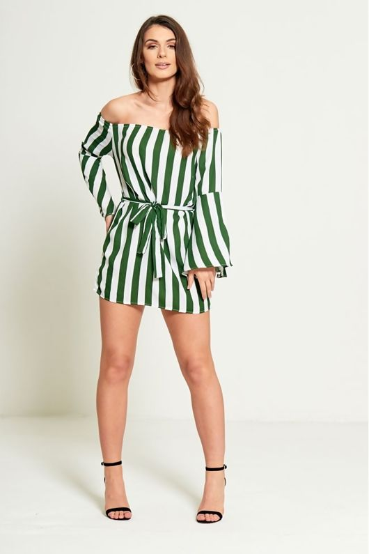 Green Striped Bardot Belted Dress