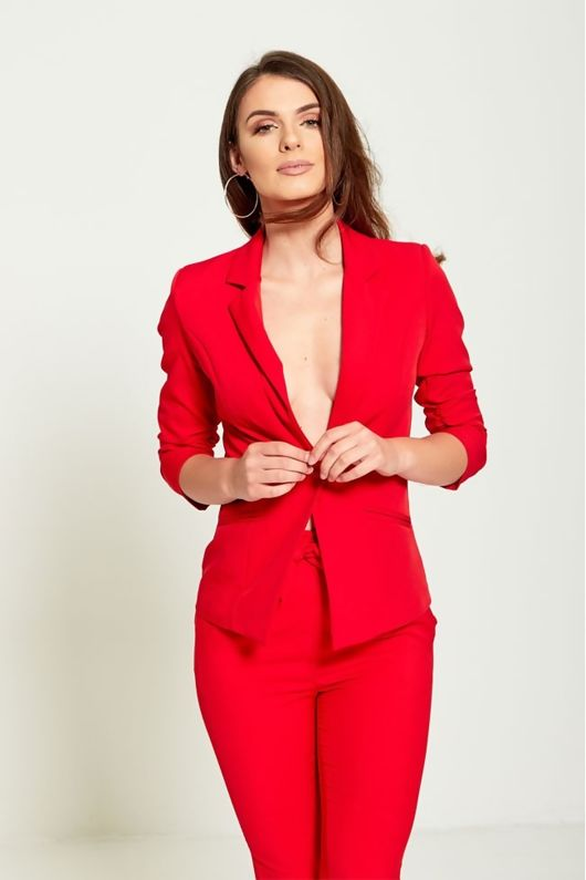 RED RUCHED SLEEVES FITTED BLAZER