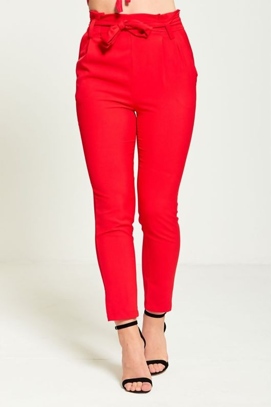 Red High Waist Belted Tapered Trousers