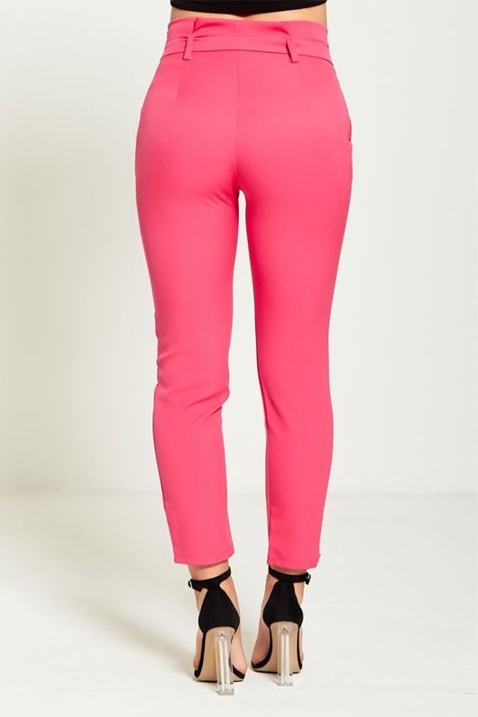 Pink High Waist Belted Tapered Trousers