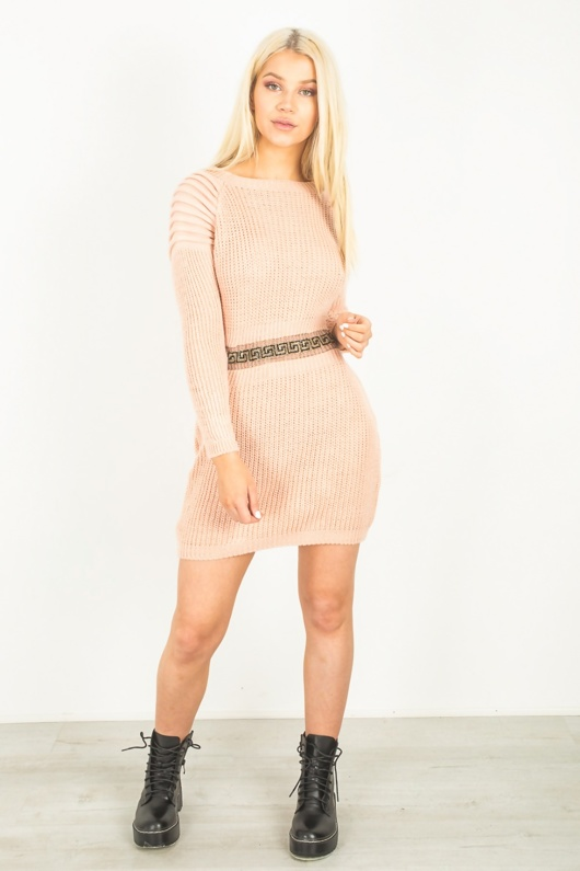 Pink Ribbed Knitted Jumper Dress