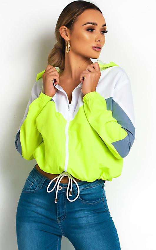 Neon Green Zip Through Hooded Jacket