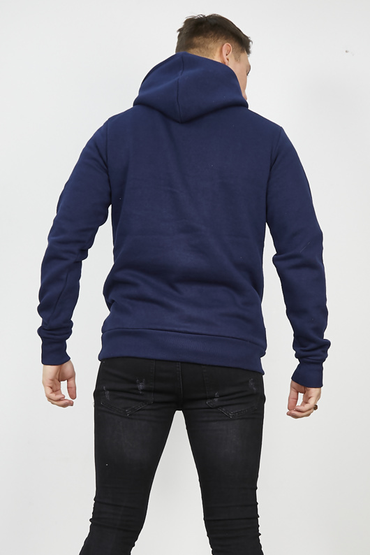 Mens Black Contrast Drawstring Pull Over Hoodie