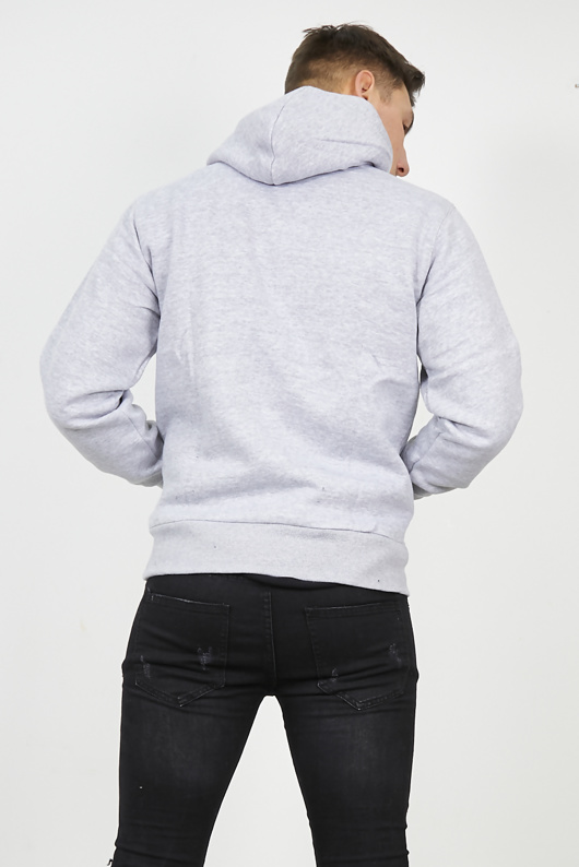 Mens Grey Contrast Drawstring Pull Over Hoodie