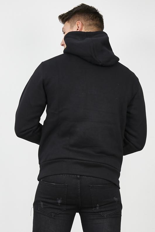 Mens Black Contrast Drawstring Pull Over Hoodie