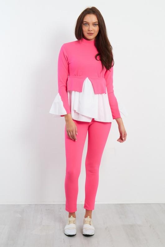 Hot Pink Frill Shirt Hem Top