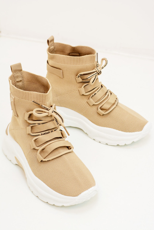 Beige Lae Up Detail Sock Trainers