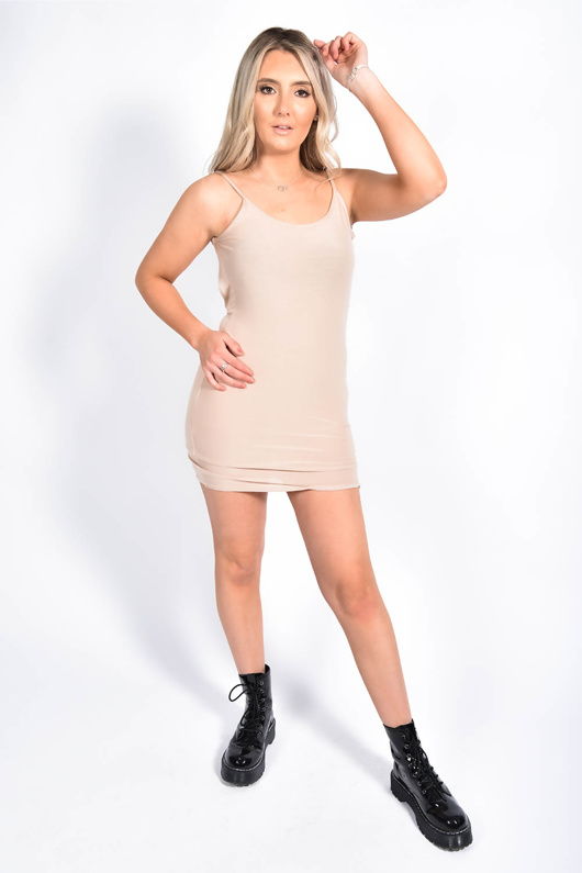 Beige Strappy Detail Backless Cami Dress