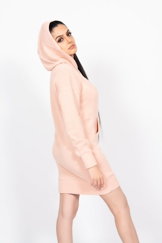 Baby Pink Knitted Hoodie Dress