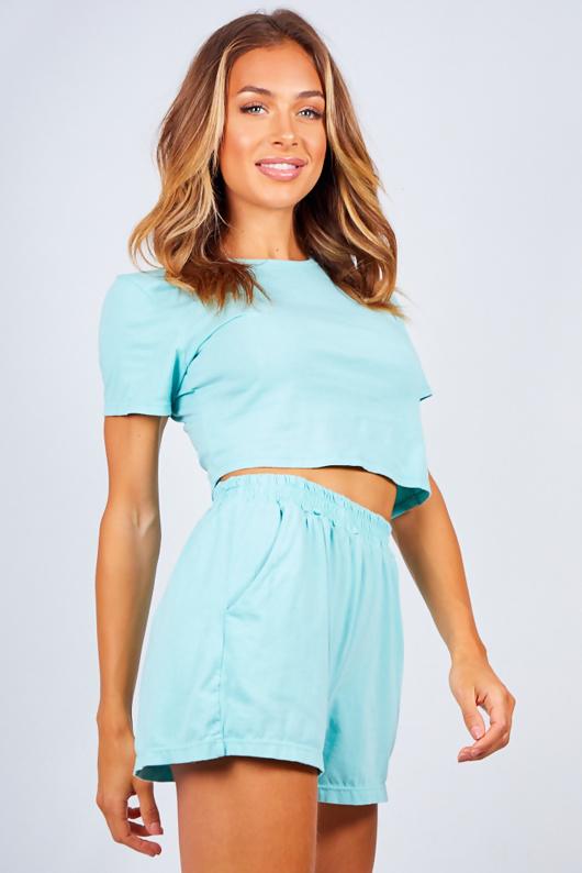 Mint Basic T-Shirt And Shorts Lounge Set